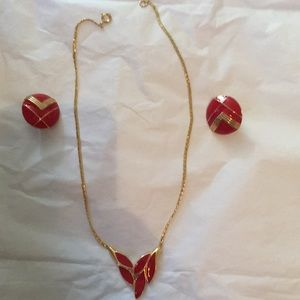 Jewelry - Trifari red enamel & goldtone set